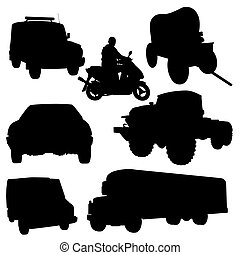 Motor-vehicle - The contours of cars and motorcycles. Black...