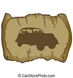 Parchment and retro car - Antique vehicle on a background of...