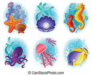 Sea animals icons - Vector illustration - Sea anymals icon...
