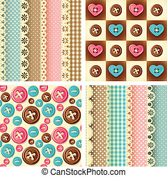 craft seamless pattern - Vector illustration - four fabric...
