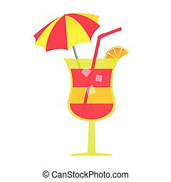 cocktail with umbrella and ice illustration