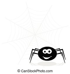 spider funny and web vector illustration