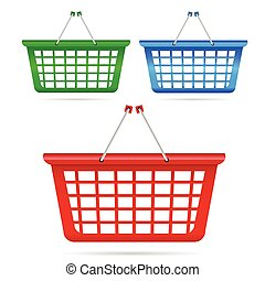 shopping basket in three color vector art illustration