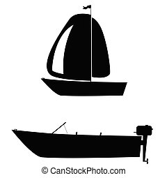 boat two silhouette vector illustration on white