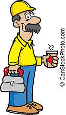 Construction Worker - Cartoon illustration of a construction...