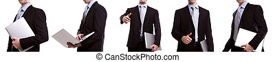 Collection of young business man with laptop against white background