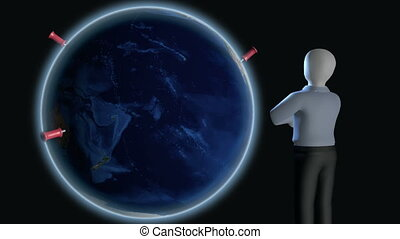 Business globalization - 3D render of businessman standing...