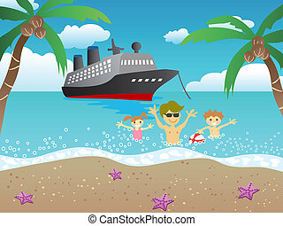 cruise to beach - a boat cruises to the beach and a family...