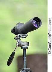 spotting scope mounted for birder