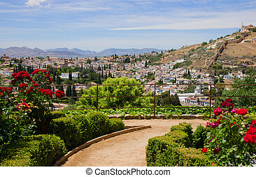 Generalife gardens and city of Granada, Spain - Generalife...