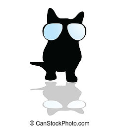 cat with glasses illustration silhouette