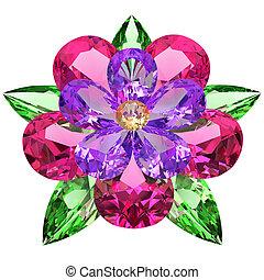 flor, compuesto, coloreado, piedras preciosas, blanco