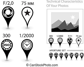 Characteristics of the photographs - Icons - a pins to...