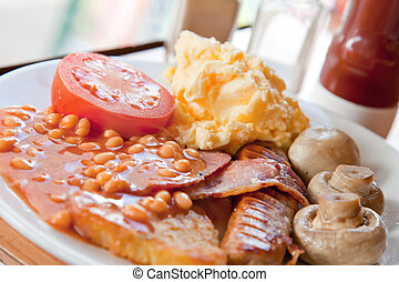 Full English Breakfast - Closeup of Full English Breakfast