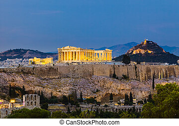 View on Acropolis at night - View on Acropolis, Athens,...