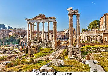 Roman ruins in Rome, Forum - Roman ruins in Rome, Italy