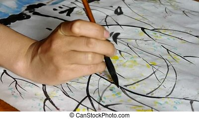 Use Writing brush to creating Traditional Chinese painting.