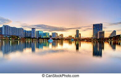 Orlando Skyline - Skyline of Orlando, Florida from lake...