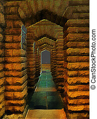 3D Fantasy Illustration of Stone Archway - 3D Fantasy...