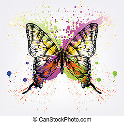 Decorative butterfly with bright spots. Vector illustration
