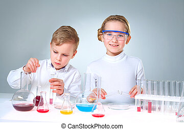 New generation of scientists - Lovely children doing...