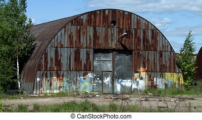 Abandoned metal hangar