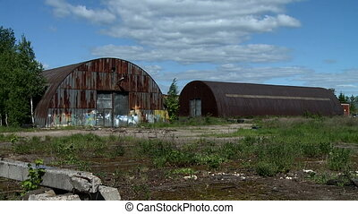 Two abandoned hangars