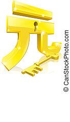 Yuan key lock concept - Conceptual illustration of a gold...