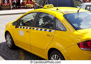 Prague Taxi - Typical yellow taxi in Prague