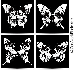 Set butterflies to skulls. Vector illustration