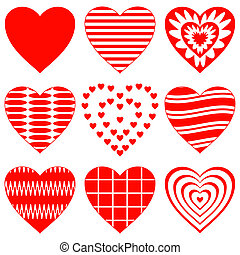 Valentine heart, set - Valentine heart, love symbol,...