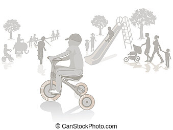 Child on the tricycle