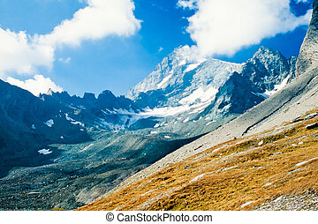 Snowy mountain of Grossglockner in Austria Europe - Snowy...
