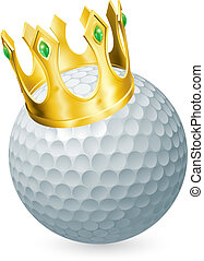 King of golf concept, a golf ball wearing a gold crown