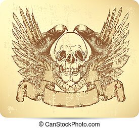 Skull with griffins and wings, hand