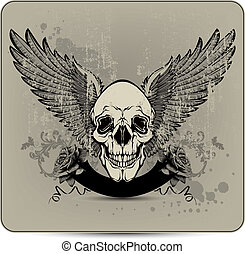 Skull with wings and roses, hand-drawing Vector illustration...