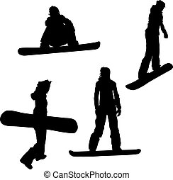Snowboarding - Four female silhouettes isolated on white