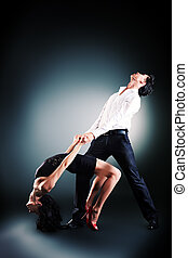 salsa dance - Beautiful couple of professional artists...