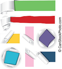 Collection of color paper. Vector illustration