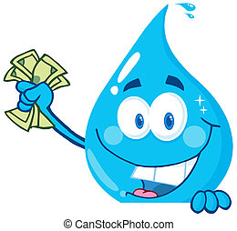 Water Drop Holding Money - Happy Water Drop Holding Money...