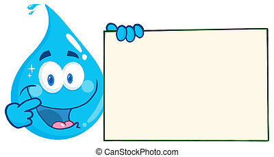 Water Drop Holding A Banner - Happy Water Drop Character...