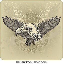 Vintage emblem with an eagle's head and wings. Vector...
