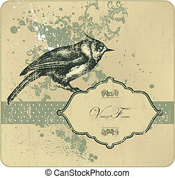 Vintage frame with bird, hand-drawi
