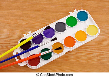 painters palette with brush