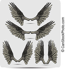 Wings set the raven, hand drawing.
