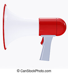 Red megaphone with red button