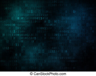 Pixeled binary background on digital screen 3d render