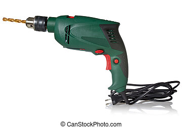 Electric drill with cord and attached metal bit