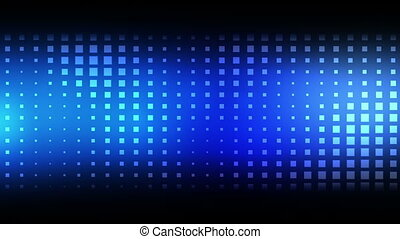 Moving blue squares against a black background