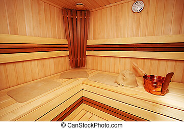 New sauna - New and wooden sauna in modern hotel